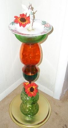 Recycled Glass Birdbath