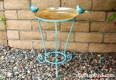 DIY Upcycled Birdbath