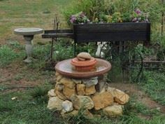 Homemade bird bath.
