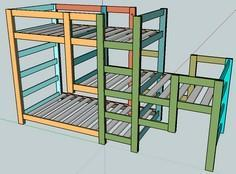 Build a Triple Bunk Staggered Beds