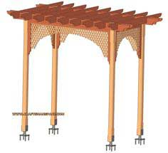 Garden wooden arbor with lattice plan