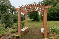 Learn how to construct a cedar garden arbor with built-in benches