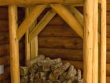 Firewood rack - rough hewn logs