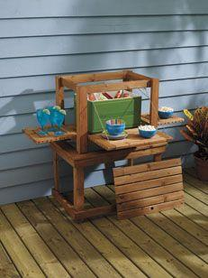 Outdoor beverage bar and nesting tables