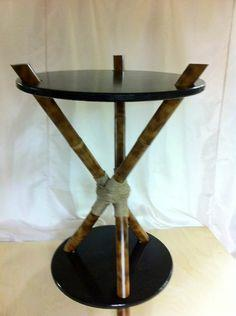 3-legged bamboo accent table