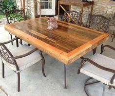 Patio Tabletop Made From Reclaimed Deck Wood