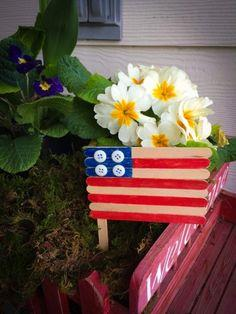 Popsicle Stick Flag Patriotic Craft