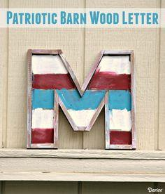 Patriotic DIY Monogram Barn Wood Letter