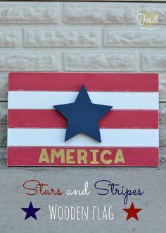 Stars and Stripes Wooden Flag