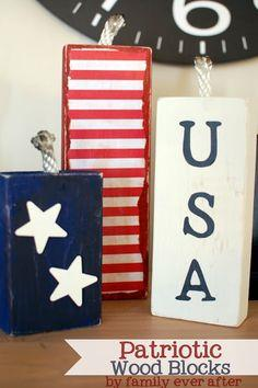 Patriotic USA Wood Blocks