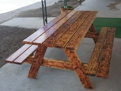 picnic table with seating for four people – plan