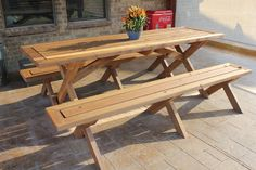 Sleek Picnic Table with Detached Benches