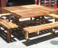 Square Redwood Picknick Table