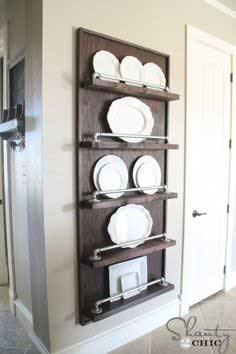 Industrial Pipe Plate Rack DIY tutorial