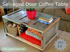 DIY Salvaged Door Coffee Table