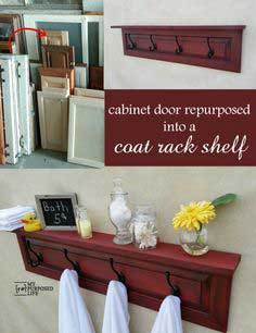 Coat Rack Shelf made from a Cabinet Door
