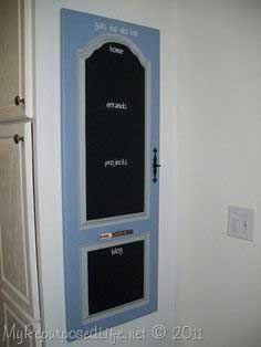 repurposed door into chalkboard