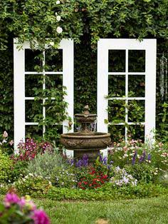 A set of doors finds new life as a trellis.