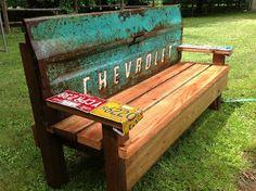 Garden Bench with an old tailgate tutorial
