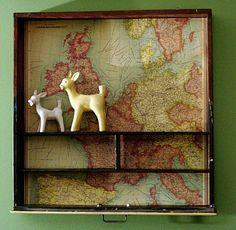 Drawer Repurposed into a Map Shelf