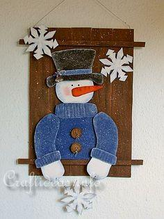 Christmas Wood Craft - Wooden Snowman Wall Picture