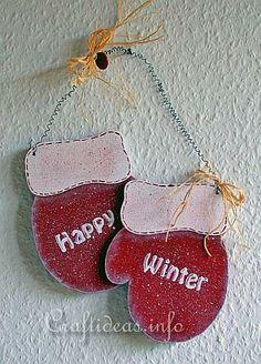 Wooden Mittens Door Decoration