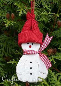 Wooden Snowman Christmas Tree Ornament