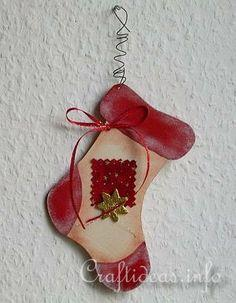 Wooden Stocking Christmas Tree Ornament